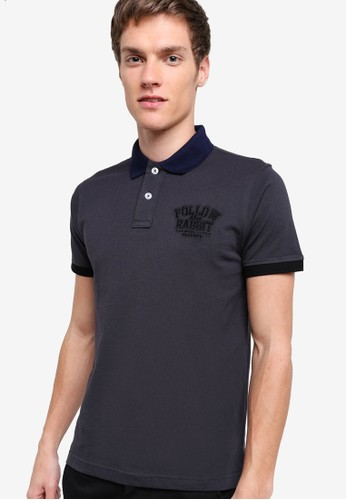 zalora時尚購物網的koumi koumiContrast Collar Polo Shirt, 服飾, 服飾