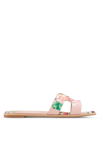 Nose pink Floral Print Slip-On Sandals NO327SH46CVLMY_1