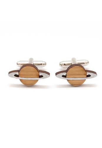 Splice Cufflinks brown Handmade Planet Saturn Cufflinks SP744AC90CUNSG_1