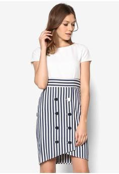 Tie Back Stripe Button Dress