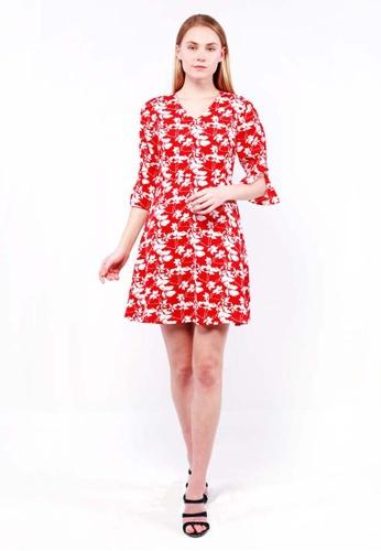 nicole red nicole -V Neckline Quarter Length Sleeve Shoulder Floral Printed Dress 9741DAABEF549EGS_1
