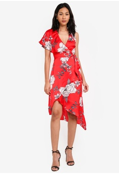 3e21a3501c Lipsy red and multi Red Print Asymmetric Wrap Satin Dress F6D31AAB3C0886GS_1