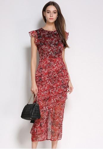 Sunnydaysweety red Elegant Slim Cut Floral Short Sleeves One Piece Dress UA062209 SU219AA81INISG_1