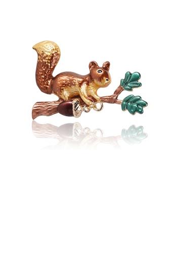 Glamorousky silver Fashion Cute Brown Squirrel Brooch 67D13ACB6FC7D5GS_1