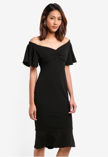 Goddiva black Off The Shoulder Midi Dress With Ruffle Sleeves 06424AA374C195GS_1