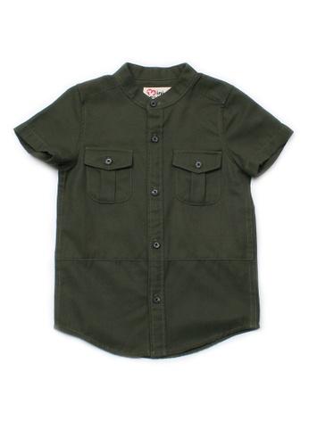 Mini Moley green Brushed Cotton Twin Pocket Short Sleeve Shirt 405F7KA180B1AAGS_1