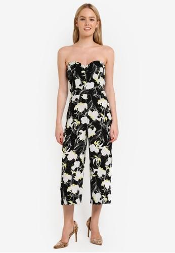 Miss Selfridge multi Floral Print Cut Out Back Bandeau Jumpsuit MI665AA0RJFEMY_1