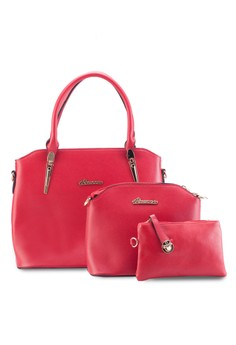 Faux Leather Tote Bag Set of 3