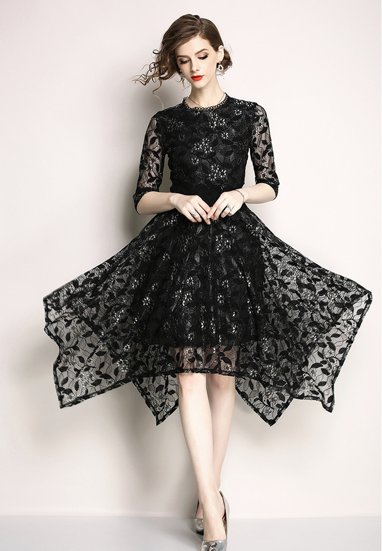 Piece Black Flower Black Sunnydaysweety Patterned Dress One New 2018 A060814BK w5EXz1qZn