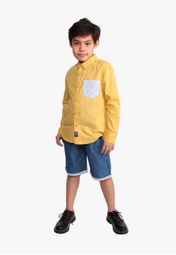 SODA yellow Striped Pocket Long Sleeve Shirt - MUSTARD BEC65KACED0561GS_1