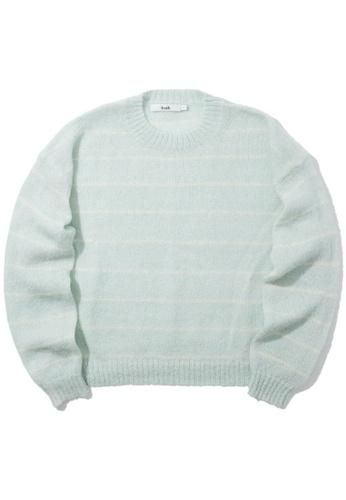 b+ab green Striped knit sweater A41E2AAA6F2BDFGS_1