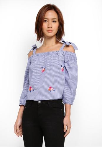 Dorothy Perkins navy Stripe Floral Cold-Shoulder 75785AAF462B51GS_1