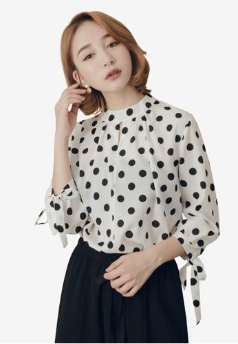 Kodz white Round Neck Tie Sleeve Blouse With Polka Dot B9052AAE0F0403GS_1