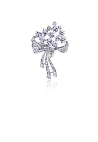 Glamorousky white Fashion and Elegant Geometric Bouquet Brooch with Cubic Zirconia CB6E4AC24512EFGS_1