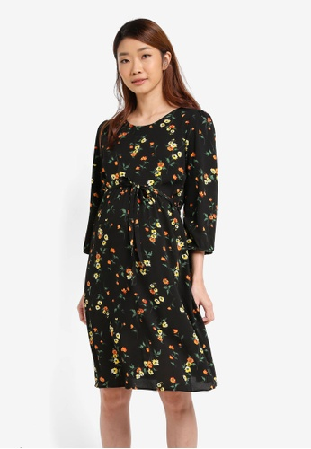 Dorothy Perkins black Maternity Alessia Floral Dress DO816AA0T062MY_1