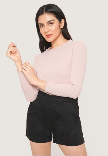 ForMe pink Long Sleeve Lettuce Edge Tee 077E2AA8DC8EFEGS_1