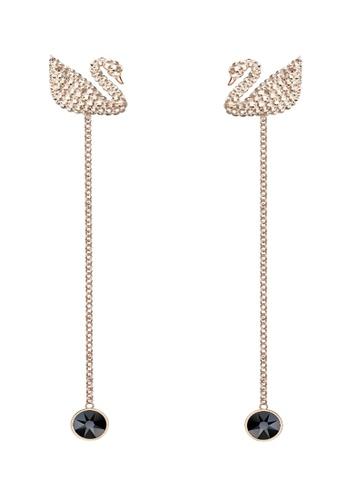 Swarovski gold Iconic Swan Pierced Earrings 65073ACE97DC07GS_1