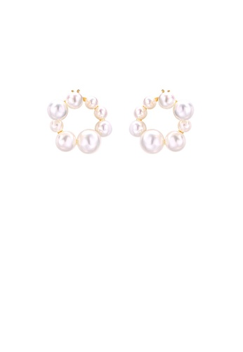 Glamorousky white 925 Sterling Silver Plated Gold Fashion and Elegant Geometric Circle Freshwater Pearl Stud Earrings 4648CAC1BE63DDGS_1