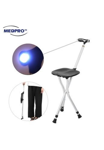 MEDPRO New Style 3 Functions Foldable Seat Cane. Non-slip Walking Stick + Wide Chair Seat + Torch Light Handle with Adjustable Height [Fall Prevention for Elderly] DCFE9ESEB92D1DGS_1