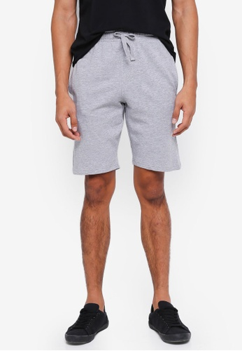 threads by the produce grey Terry Cotton Shorts BDAF5AA4F7E218GS_1