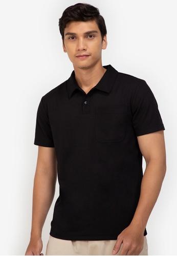 ZALORA BASICS black Contrast Stitch Polo Tee 32814AA8F8E8C0GS_1