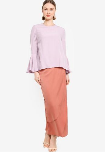 Lubna 紫色 and 褐色 Flare Sleeve Kurung With Tulip Skirt EBD92AAA1C66EFGS_1