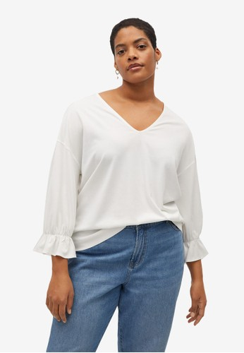 Violeta by MANGO white Plus Size Ruffled Sleeve T-Shirt 0AA84AA687D733GS_1