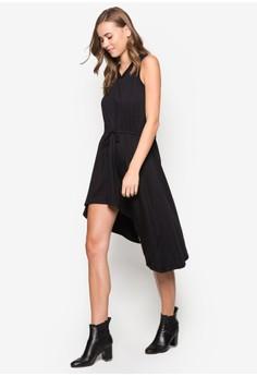 Asymmetrical Hem Chiffon Yoke Dress