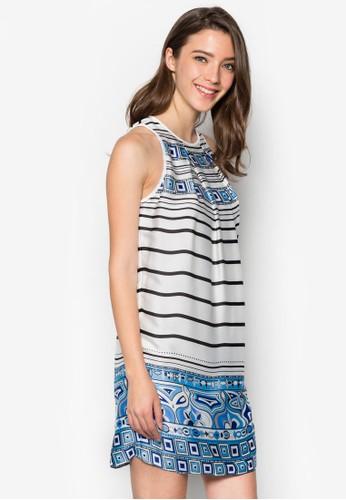 印花條紋無袖連身裙, 服飾esprit台灣門市, 洋裝