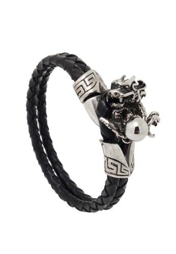 Jaysa Collection black Stainless Steel Dragon Claws Leather Bracelet JA875AC39FPOSG_1