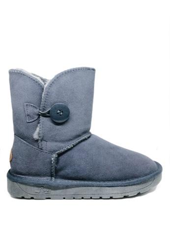 Twenty Eight Shoes 灰色 真皮圓鈕雪地靴UUD03 6CA94SH91B4DDCGS_1