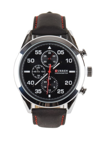 LEUPP black and silver Curren Black Leather Sports Watch TO983AC92KVRPH_1