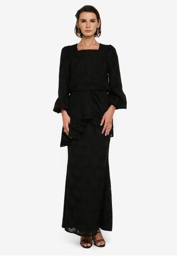 Zalia 黑色 Asymmetrical Drape Mermaid Kurung 2246EAA12B076EGS_1
