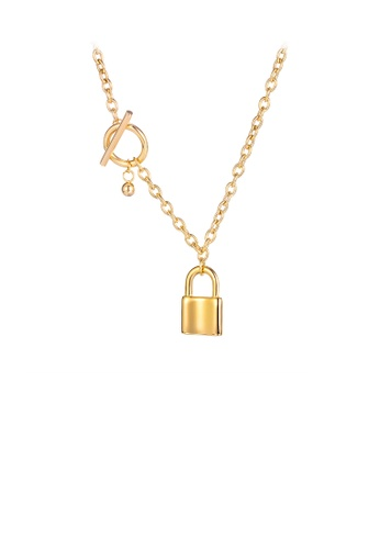 Glamorousky silver Fashion and Simple Plated Gold Lock 316L Stainless Steel Pendant with Necklace FDD0FAC92F1763GS_1