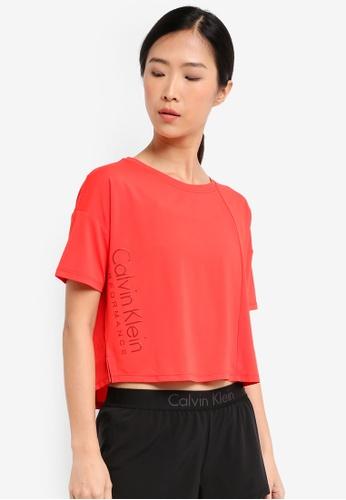 Calvin Klein red Boxy Crop Short Sleeve Tee - Calvin Klein Performance 49CC8AA2BCE8E0GS_1
