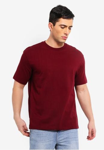 1d5ca9789d8d68 Buy Topman Burgundy Oversized T-Shirt Online on ZALORA Singapore