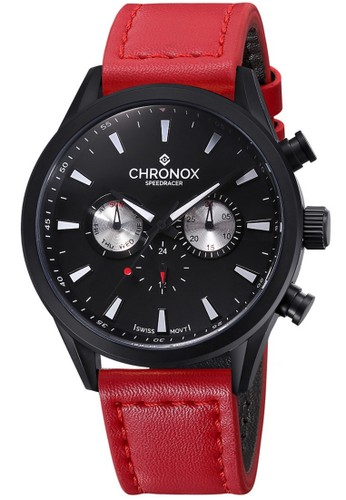 Chronox Speedracer CX2002/C8 - Jam Tangan Pria - Tali Kulit Merah - Hitam