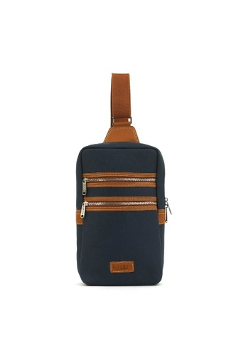 Kawamura blue Lotuff Leather & Waxed Canvas Sling Bag KA871AC67IMAHK_1