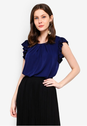 FORCAST navy Rhea Pleated Sleeve Top 0ADA2AA4461F4AGS_1