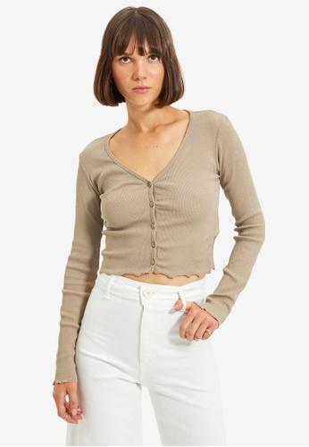 Trendyol beige Plain Button Crop Top E1695AA773F95AGS_1