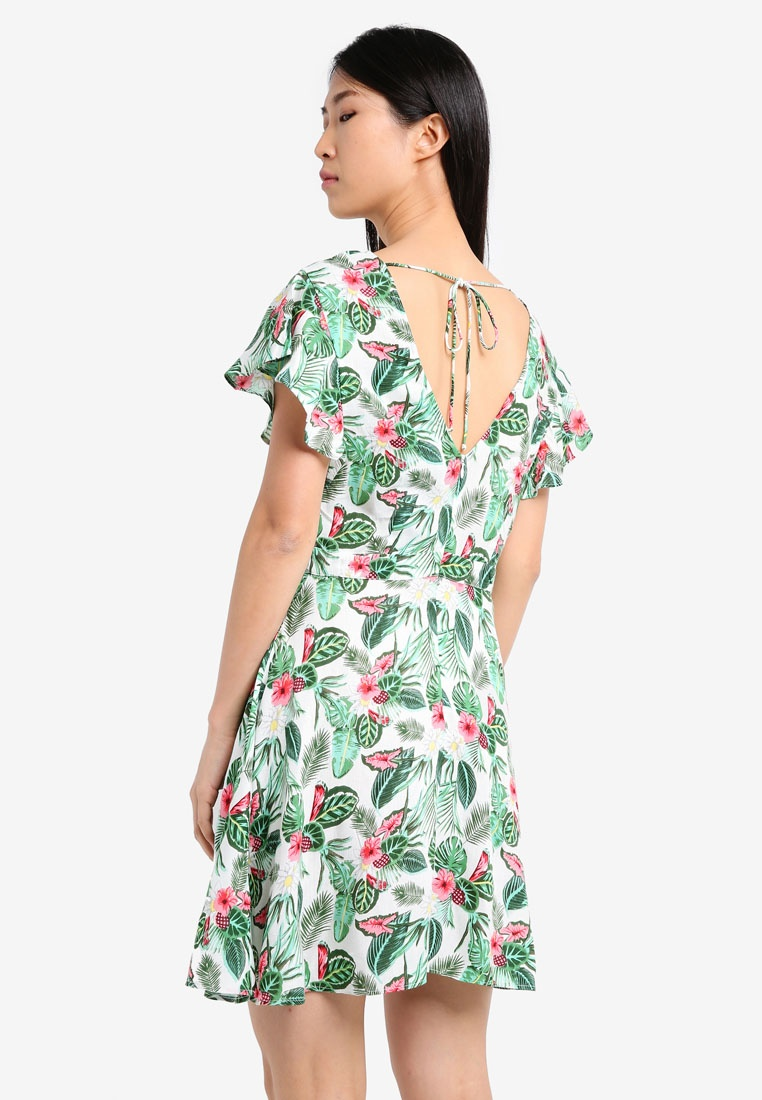 Based Dress White ZALORA Cap Sleeve Fit Flare Tropical amp; Print nq4wnABO0