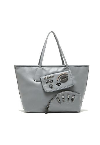 LULUGIFT grey Lulugift Funky Punk Metal Kit PU Leather Shoulder Bag Grey LU989AC09QGKMY_1