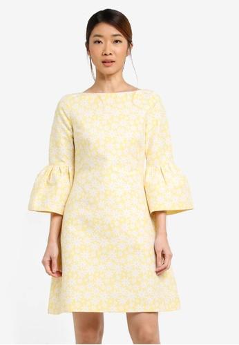 Vesper yellow Vesper Amy Daisy Jacquard Shift Dress With Frill Cuff EB2ACAA203F788GS_1