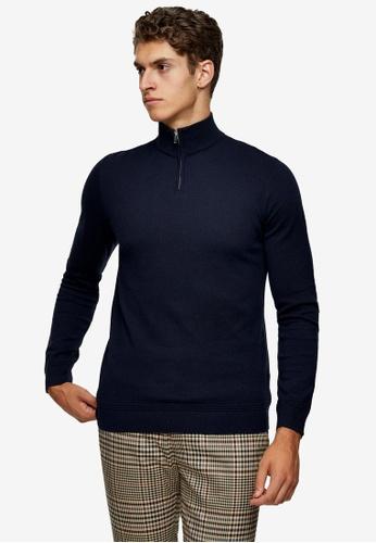Topman navy Considered Navy Turtle Neck Zip Knitted Jumper 5421AAA4733FB0GS_1