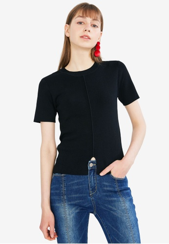 Hopeshow black Split Hem Basic Top D7548AAE372DA6GS_1