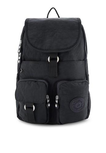 BAGSTATIONZ esprit hkMDS 細紋理尼龍掀蓋小後背包, 飾品配件, 後背包