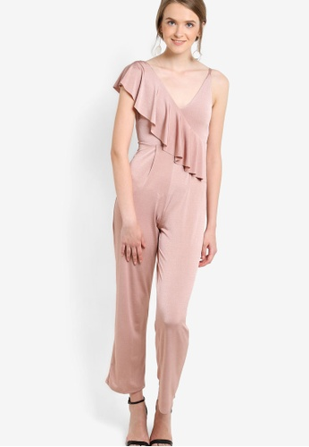 61e68d1770a6 Buy Miss Selfridge Petite Slinky Ruffle Jumpsuit Online on ZALORA ...