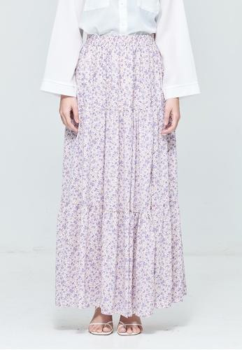 MC Vogue purple Purple Flare Hem Straight Skirt 556ECAAE082EF6GS_1