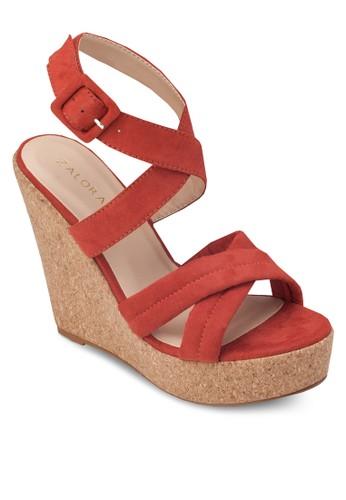交叉帶木製楔形涼鞋, 女鞋, zalora 手錶 評價楔形涼鞋
