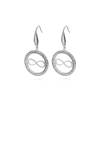Glamorousky white Simple Personality Geometric Circle Infinity Symbol 316L Stainless Steel Earrings with Cubic Zirconia 90118ACC51EC84GS_1
